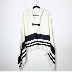 Ecote Cream and Black Hooded Poncho Sweater